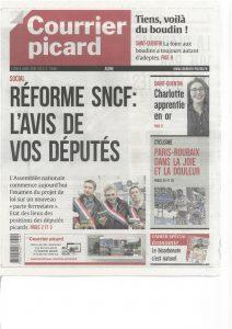 première page Courrier Picard le 09 avril 2018